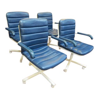 Vintage Blue Vinyl Arm Chairs- Set of 4 For Sale