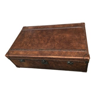 Restoration Hardware Richard's Trunk Leather Coffee Table For Sale
