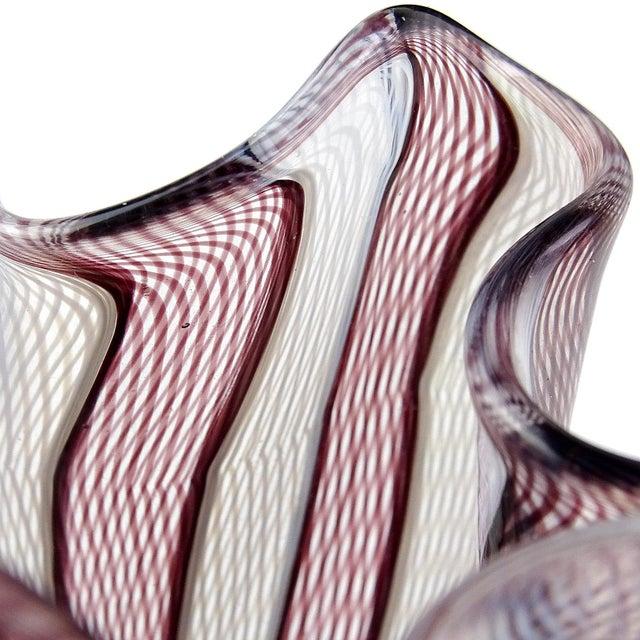 Beautiful Murano hand blown tight net ribbons Italian art glass fazzoletto vase. Documented to Fulvio Bianconi and Paolo...