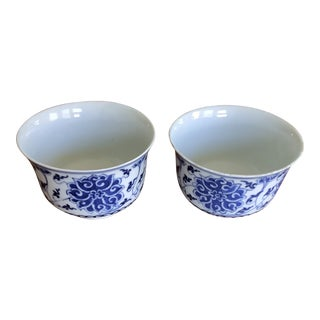 Antique Chinese Export Lotus Design Blue and White Cups - a Pair For Sale