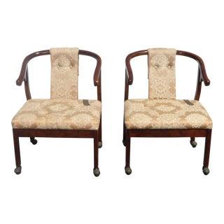 Pair Vintage Bernhardt Oriental Asian Silk Floral Design Accent Arm Chairs For Sale