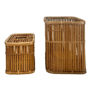 1960s Woven Mid Century Modern Rattan Wastebasket and Tissue Holder - a Pair For Sale