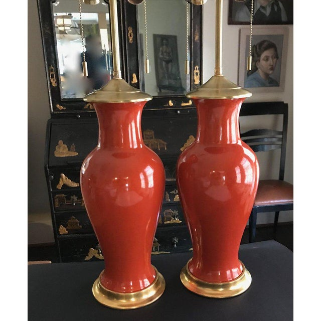 1960s Japanese Orange Porcelain Lamps - a Pair For Sale - Image 4 of 13