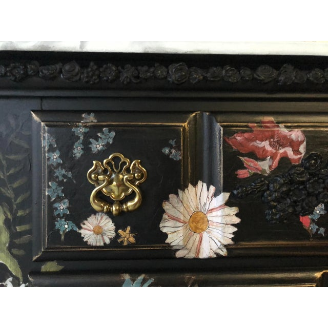 Tall Midnight Floral Storage Dresser Chest With Pinstriped Siding and Faux Marbleized Top For Sale - Image 11 of 12