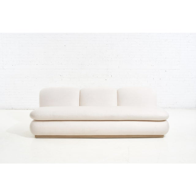 2020s Modern Drama White Boucle Pouf Sofa For Sale - Image 5 of 11