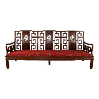 Vintage Chinese Rosewood Carved Sofa For Sale