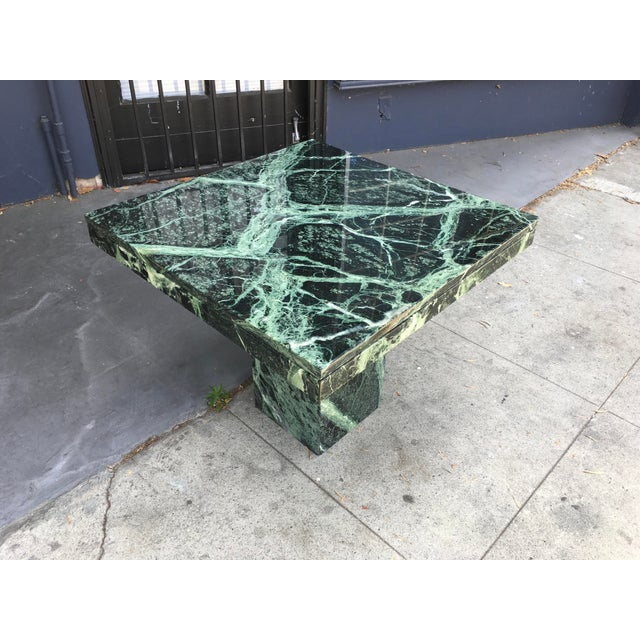 Art Deco 1970s Italian Verde Green Marble Side Table For Sale - Image 3 of 10