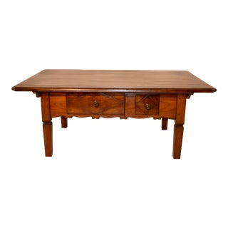 19th Century Swiss Cherry Coffee Table With Two Drawers For Sale