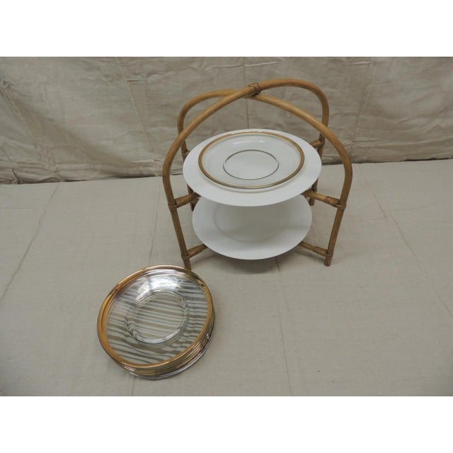Vintage Bamboo With Rattan Details Two Tier Serving Stand For Sale - Image 4 of 8