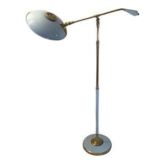 1930s Vintage Enamel Brass Articulating Counter Balance Floor Lamp For Sale