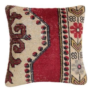 Turkish Boho Chic Rug Pillow For Sale