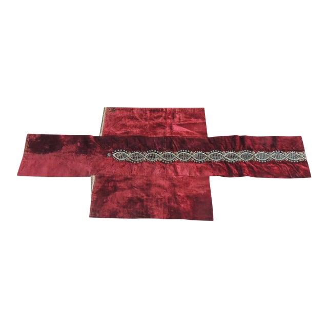 Ottoman Empire Persian Silver Metallic Threads Embroidered Textile For Sale