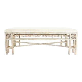 Vintage Beveled Travertine Top Coffee Table For Sale