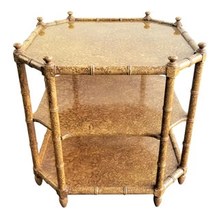 Campaign Henredon Tortoise Shell Faux Bamboo Side Table For Sale
