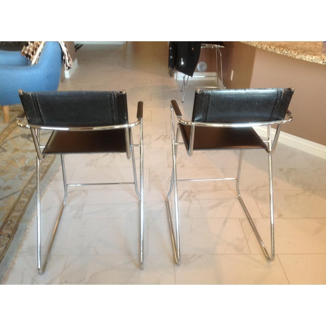 Mid-Century Modern Mid-Century Chrome and Black Leather Counter Z Bar Stools - a Pair For Sale - Image 3 of 8