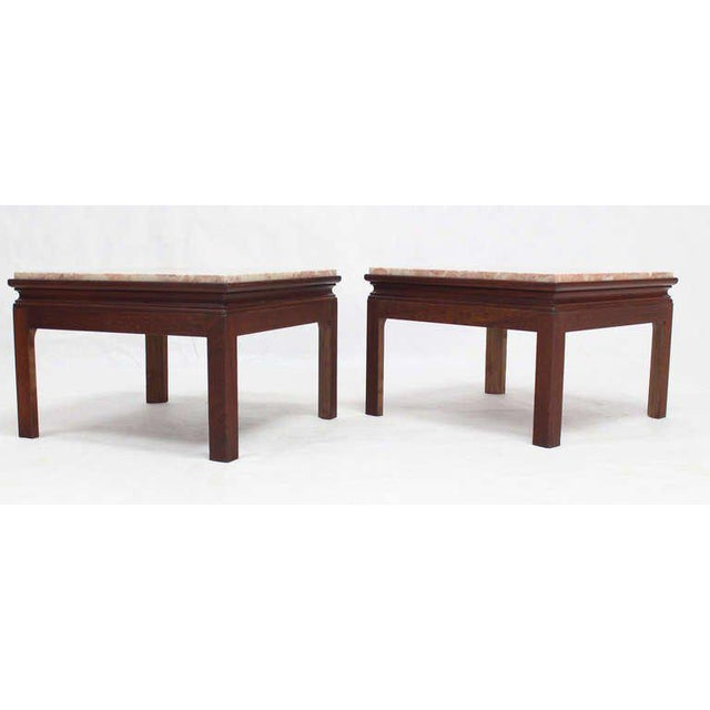 Mid-Century Modern Mid-Century Modern Pair of Marble-Top Low End Tables For Sale - Image 3 of 8