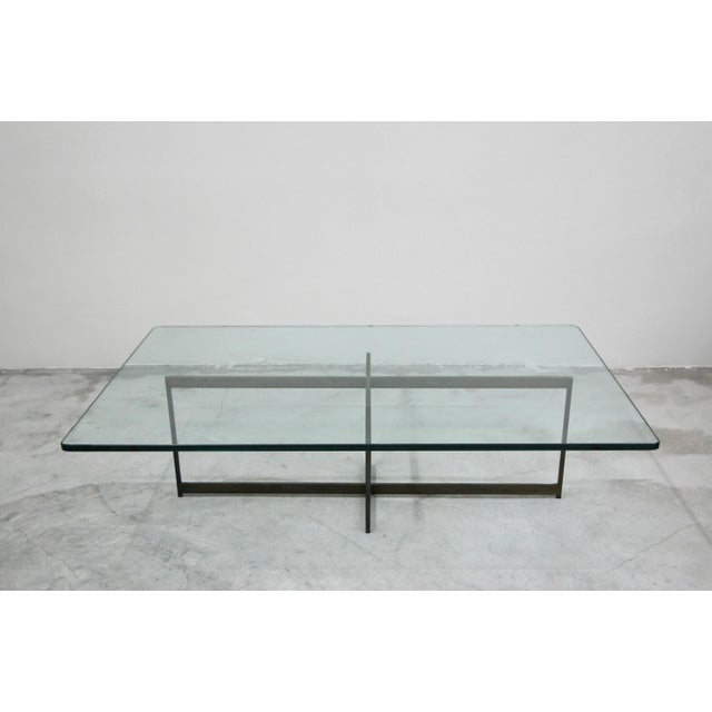 Milo Baughman Mid Century Minimalist Italian Bronze Base Coffee Table For Sale - Image 4 of 10