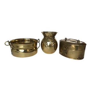 1980's Vintage Solid Brass Containers - Set of 3 For Sale