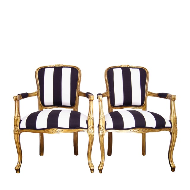 1970s Vintage French White and Black Stripe Gold Louis XV Chairs - a Pair For Sale