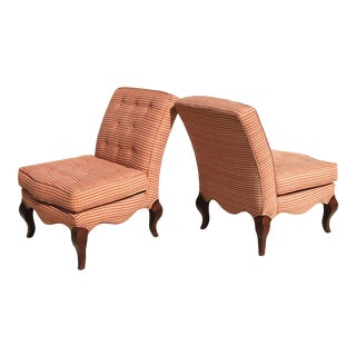 Traditional Queen Anne Slipper Chairs - a Pair For Sale