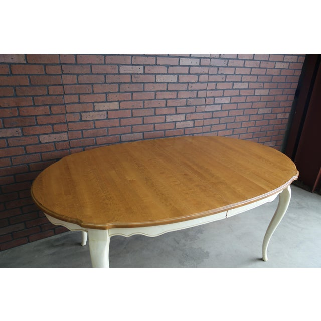 1990s French Country Ethan Allen Oval Extension Dining Table For Sale - Image 5 of 8