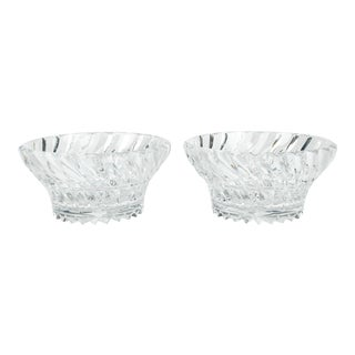 Vintage Pair Heavy Cut Crystal Bowl For Sale