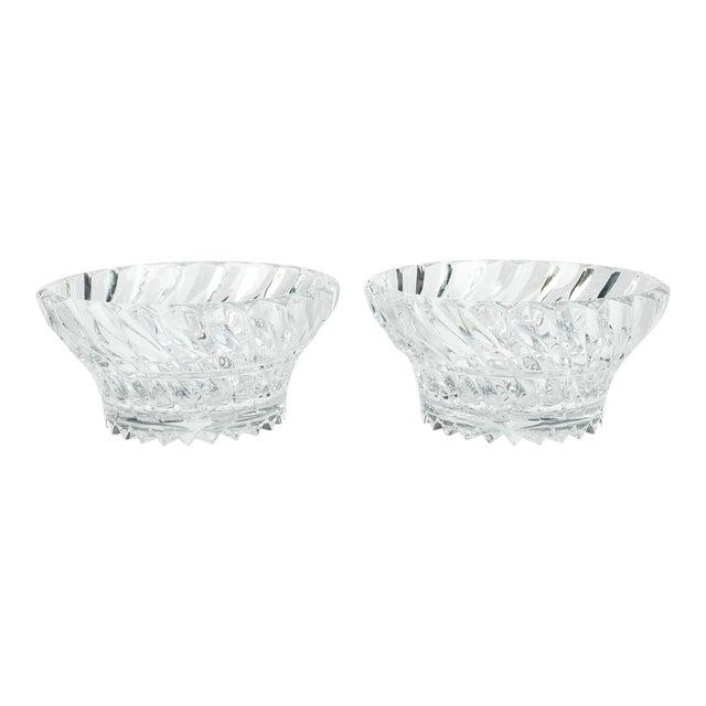 Vintage Pair Heavy Cut Crystal Bowl For Sale