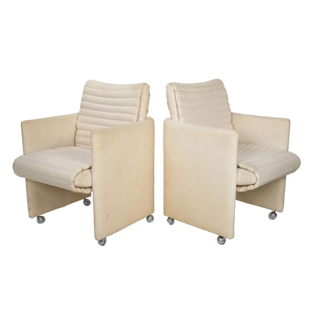 A Pair of Milo Baughman Beige Club Armchairs on Casters with Cord Fabric. Seat Height: 17.5 Arm Height: 24.75 Good...