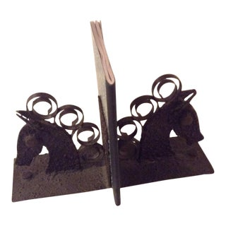 1970s Vintage Brutalist Metal Horse Bookends - a Pair For Sale