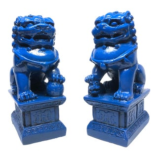Chinoiserie Royal Blue Lacquer Foo Dog Figurines - a Pair