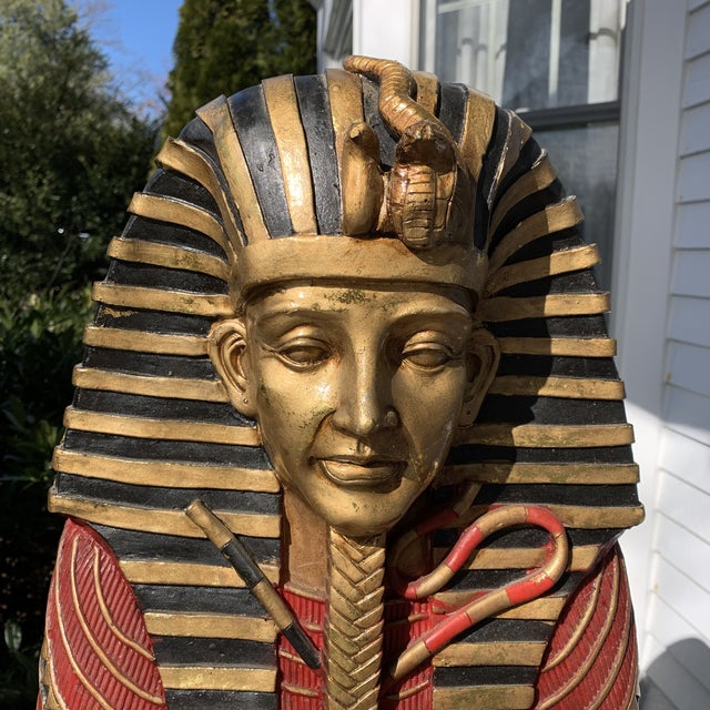 Egyptian Sarcophagus Wood Dry Bar and Storage Cabinet For Sale - Image 4 of 13