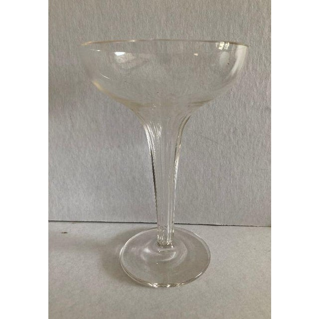 Mid-Century Ribbed Hollow Stem Champagne Glasses - Set of 5 For Sale In New York - Image 6 of 7