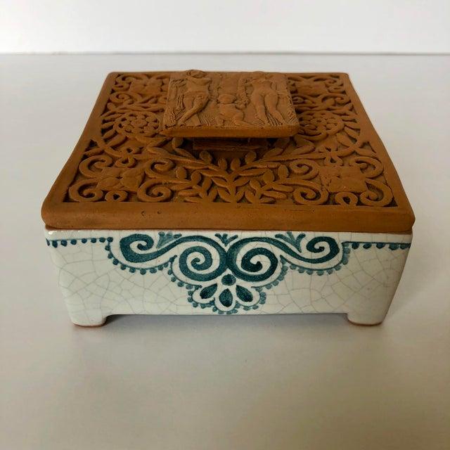 Ceramic Vintage Italian Terra-Cotta Intaglio Trinket Box For Sale - Image 7 of 7