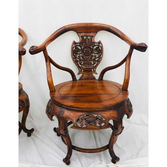 Wood Pair Antique Carved Arm Chairs For Sale - Image 7 of 13