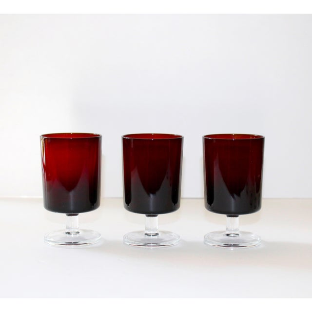 Glass Set of 12 Mid-Century Modern Crystal Wine Glasses in Red, 1960's For Sale - Image 7 of 13