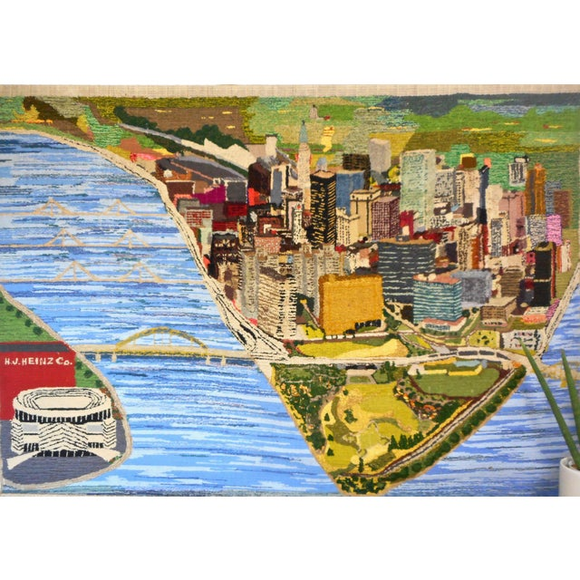 1960s Hand Woven Heinz Pittsburgh Pennsylvania Tapestry Fibre Art Wall Hanging For Sale - Image 12 of 12