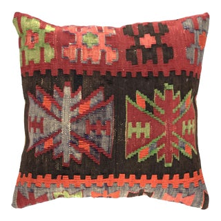 "Up-Cycled Vintage Kilim Pillow | 16"" For Sale"
