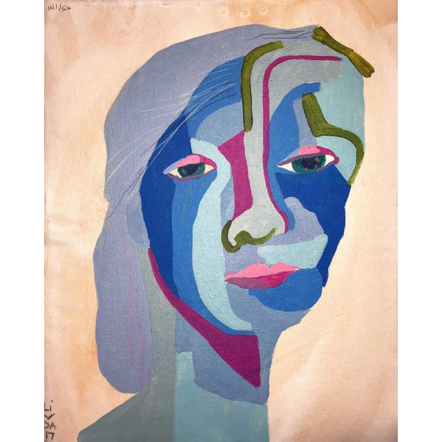 "Contemporary Abstract Portrait Painting ""Here We Go"" For Sale"
