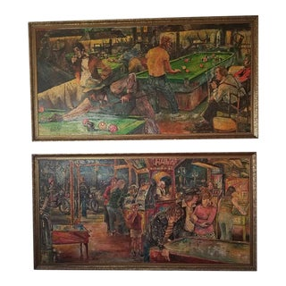 Pair of Large Mid Century Oil on Boards by Les Dykes of Pool Hall & Arcade