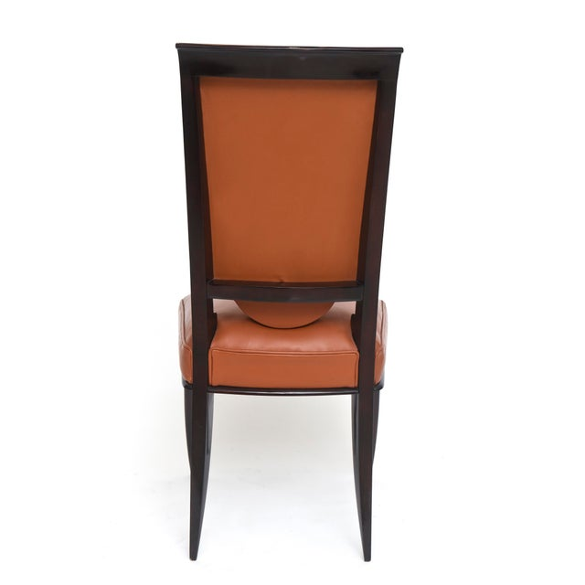 Black Fine Set of Eight Late Art Deco Ebony De Macassar Dining Chairs, Jules Leleu For Sale - Image 8 of 10