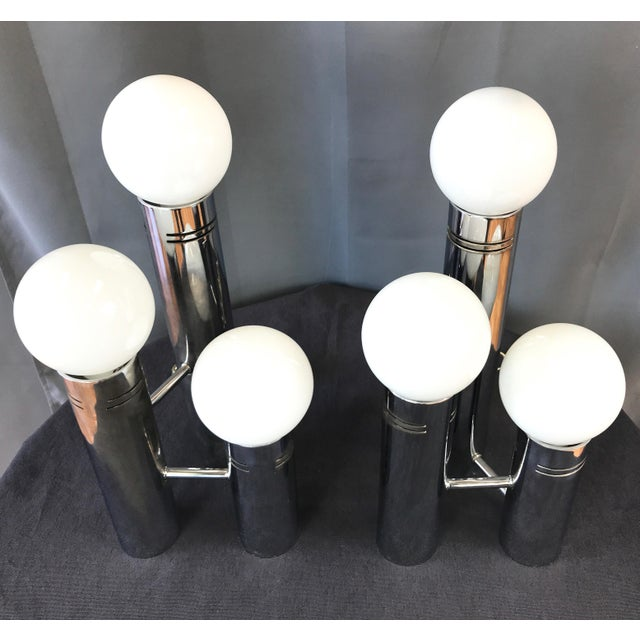 Vintage Futuristic 3 Light Chrome Table Lamps A Pair Chairish