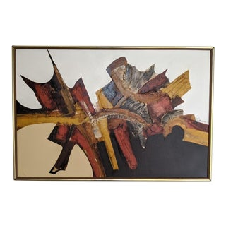Framed Abstract Oil Painting, Signed Walcott For Sale