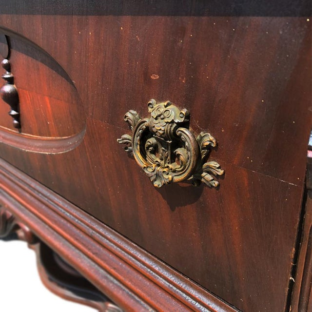 Exceptional Antique Victorian Carved Mahogany China Curio Bookcase Cabinet For Sale - Image 10 of 11