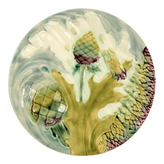 French Majolica Asparagus Plate For Sale