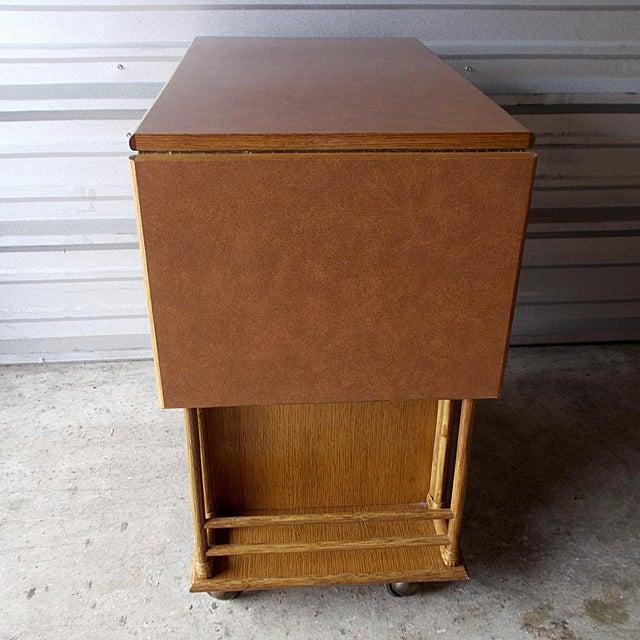 Animal Skin Vintage McGuire Rattan Drop Leaf Dry Bar/Bar Cart For Sale - Image 7 of 10