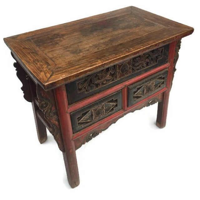 Antique Tibetan Altar Console Table 3 Drawer Chest For Sale - Image 5 of 9