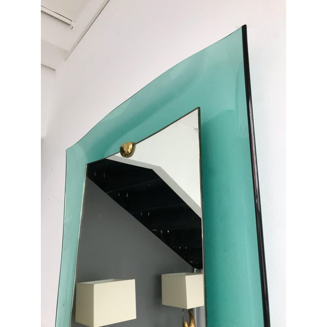 Curve Glass Brass Mirror by Cristal Art, 1960s For Sale - Image 6 of 12