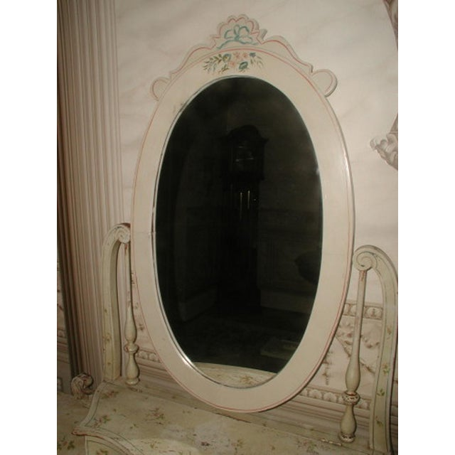 Flowered French Vanity With Mirror & Glove Box - Image 6 of 8