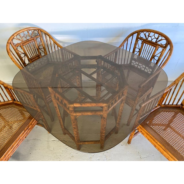 Mid-Century Modern Brighton Pavilion Rattan Dining Set 4 Chairs and Table - Set of 5 For Sale - Image 3 of 10