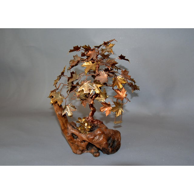 Handcrafted Bonsai Tree Brass, Copper, Bronze Sculpture on Burl Wood Base For Sale - Image 4 of 13